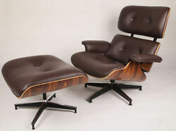 Eames Style Palisander Lounge Chair and Ottoman Set in Brown Top Grain Leather