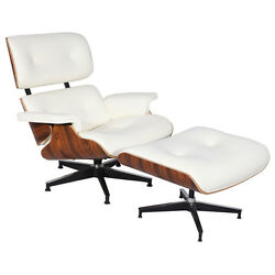 Eames Style Palisander Lounge Chair and Ottoman Set in Top Grain White Leather