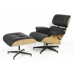 Eames Style Ashwood  Lounge Chair and Ottoman Set in Black Top Grain Leather