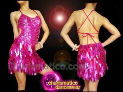 Intense Fuchsia Sequin Drag Queen's All Time Dance Costume With Halter Back