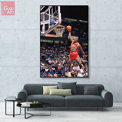 Canvas print wall art photo big poster decor Michael Jordan nba dunk bulls mvp z $17.00