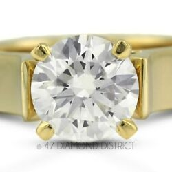 2.07ct. G-VS2 Ex Round Certified Diamond 14K Gold Cathedral Solitaire Ring 7.1gm