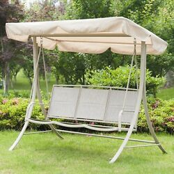 Outdoor Porch Swing Canopy Sling Chair 3 Seats Patio Deck FurnitureSteel Frame