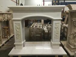 BEAUTIFUL HAND CARVED MARBLE ESTATE ASIAN DESIGN FIREPLACE MANTEL - JD656