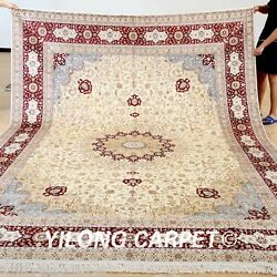 Yilong 9'x12' Original Silk Area Rugs Bedroom Artificial Carpets Handmade 0902