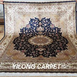 Yilong 8'x10' Large Oriental Silk Rug Hand Knotted Original Carpet Handmade 0813