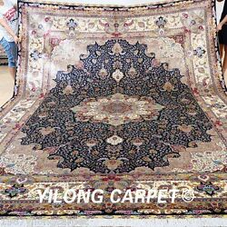 Yilong 10'x14' Large Original Silk Rugs Hand-knotted Floor Carpets Handmade 0346