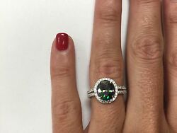 Platinum Sterling Silver White  Sapphire&Mystic Topaz Pave Halo Oval Band Ring