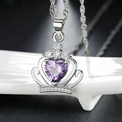 Women Charm Fashion Pendant Jewelry Crystal Crown 925 Sterling Silver Necklace