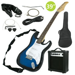 Full Size Blue Electric Guitar with Amp Case and Accessories Pack Beginner $99.99