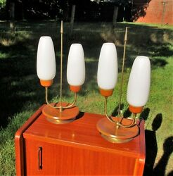 Pair Mid Century Brass Beech Wood Rocket Atomic Table Desk Nightstand Lamps Lamp