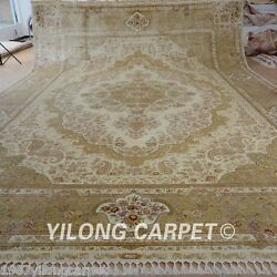 Yilong 14.3'x20' Huge Silk Area Rugs Hand-knotted Beige Carpets Hand made 0878