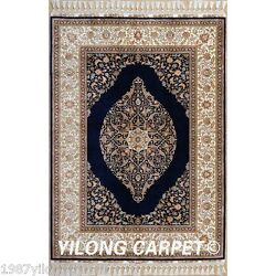 Yilong 4.3'x6.6' Handmade Silk Area Rug Hand Knotted Persian Indoor Carpets 1788