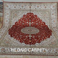Yilong 8'x10' Large Silk Area Rug Hand-knotted Red Carpets Handmade Outdoor 1257