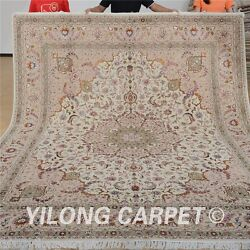 Yilong 8'x10' Wool Area Rugs Hand knotted Silk Accent Shag Carpets Handmade 1305