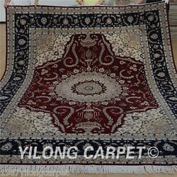 Yilong 8'x10' Wool Area Rugs Hand knotted Silk Shag Carpets Accent Handmade 1310
