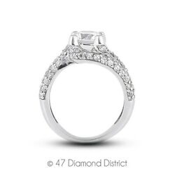 3.44ctw D-I1 Ex Round Natural Diamonds 18K Gold Split Shank Pave Rows Ring 7.8gm