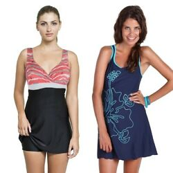 Ladies One Piece Swimdress Women Modest Swimsuit Skirted Bathing Suit Bathers $32.95