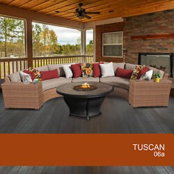 Tuscan 6 Piece Outdoor Wicker Patio Furniture Set 06a