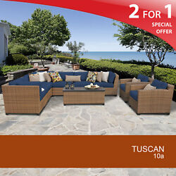 Tuscan 10 Piece Outdoor Wicker Patio Furniture Set 10a 2 for 1