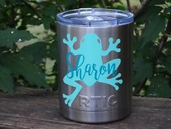 Custom Name Frog Vinyl Decal for Stainless Tumblers Coffee Travel Cups Mugs