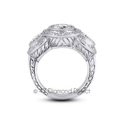 2.06ct H-SI1 Ex Round Natural Diamonds 950PL Vintage Engraved 3-Stone Ring 20.3g
