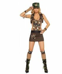 4pc Major Hottie Dress Camoflage Hat Gloves Vest ROMA Halloween Costume S M $24.99