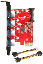 Inateck Superspeed Interface USB 3.0 Expansion Card 4 Port Express PCI E Desktop $19.99