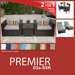 Premier 13 Piece Outdoor Wicker Patio Package PREMIER-03a-S6K - Grey