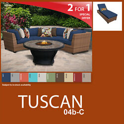 Tuscan 5 Piece Outdoor Wicker Patio Package TUSCAN-04d-C - Navy