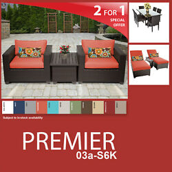 Premier 13 Piece Outdoor Wicker Patio Package PREMIER-03a-S6K - Tangerine