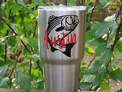 Custom Monogram Fish Vinyl Decal for Stainless Tumblers Coffee Travel Cups