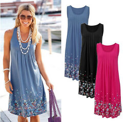 Womens Floral Sundress Midi Length Summer Evening Cocktail Party Beach Dress DK4