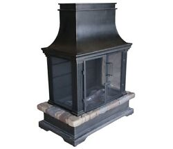Patio Outdoor Steel and Slate Fireplace Wood Burning Backyard Fire Pit  - Black