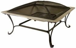 Square Fire Pit Stainless Steel Wood Burning Outdoor Patio Modern Fireplace Heat