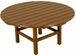 Teak Patio Coffee Table Outdoor Furniture Plastic Resin All-Weather Round 38-in.