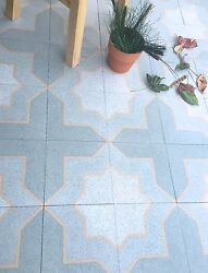 8X8 Star and Cross Matte Encaustic Cement Tile Floor and Wall Sold by Piece $9.99