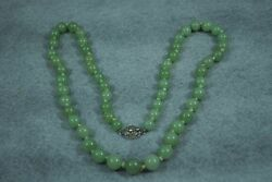 Art Deco Apple Green Jade Necklace Sterling Silver clasp 26