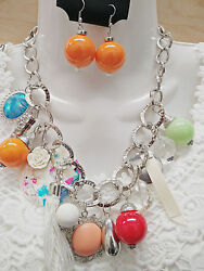 Charm Fashion Multi Pendant Silver Chain Link Chunky Statement Necklace Earrings $14.99