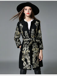 Gold thread embroidery wool cashmere long coat jacket parkas trench