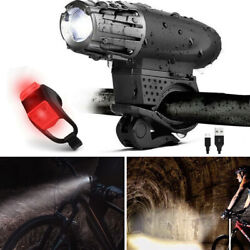 5000 Lumen 8.4V Rechargeable Cycling Light Bicycle Bike LED Front Rear Lamp Set $9.59