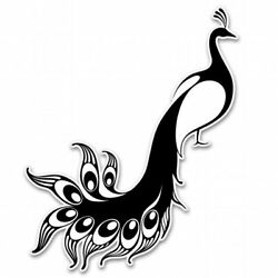Peacock Black Car Vinyl Sticker - SELECT SIZE