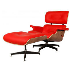 Eames Style Walnut Lounge Chair and Ottoman Set in Red Top Grain Leather