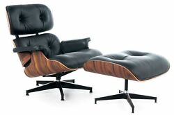 eBB Eames Style Lounge Chair and Ottoman BLACK PU Leather Palisander Wood