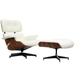 Eames Style Rosewood Lounge Chair and Ottoman Set in Top Grain White Leather