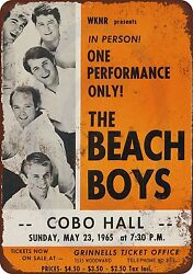 1965 Beach Boys in Detroit Vintage Look Reproduction Metal Sign 8 x 12 USA