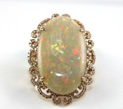 Fine Huge Oval Cut Fire Opal Solitaire Ring wDiamond Halo 14k Rose Gold 14.12Ct