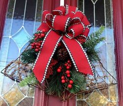 Rustic Red Shaped Bell Door Wreath Christmas Lodge Decor Sleigh Bells Berries