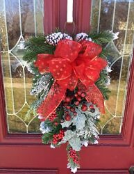 Rustic Winter Red Pine Snowy Christmas Lodge Door Wreath Christmas DECOR