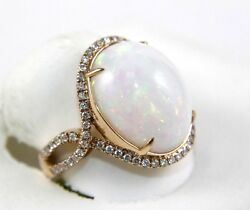 Oval Cut Fire Opal Solitaire Infinity Ring wDiamond Halo 14k Rose Gold 10.05Ct